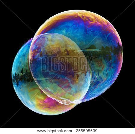 Large Soap Bubbles Isolated On Black With Clipping Path