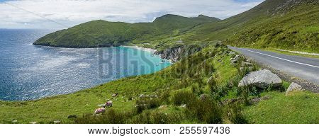 A Panoramic View Of Keem Beach, County Mayo, Northern Ireland.