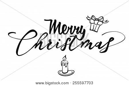 Merry Christmas Lettering. Nice Seasonal Calligraphic Artwork For Greeting Cards. Hand-drawn Vector