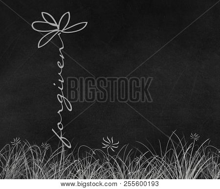 Forgiven Text Daisy Flower Illustration In Grass On Black Chalkboard