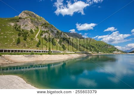 Lake Fedaia Is A Lake In The Dolomites, Located Just West Of Fedaia Pass. It Is Located In The Munic