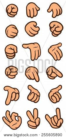 Cartoon White Man Hand Gesture Set. Hands Show Signs. Different Hand Positions. Vector Icon.