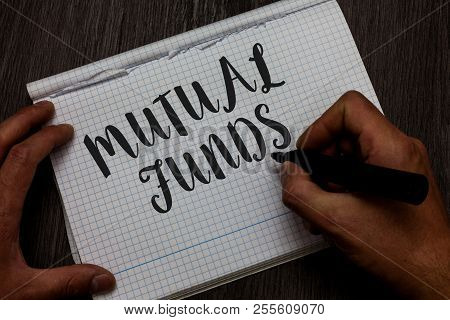 Writing note showing Mutual Funds. Business photo showcasing An investment program funded by shareholders Individual Stocks Man hand holding marker communicating ideas reflections squared paper. poster