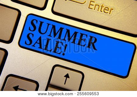 Conceptual Hand Writing Showing Summer Sale. Business Photo Text Annual Discount Events That Takes P