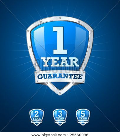 Guarantee label shield on blue background