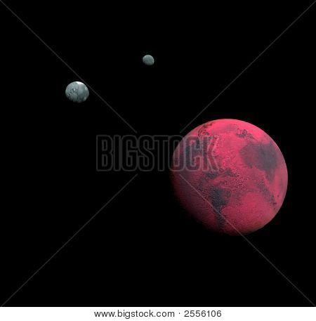 My interpretation of Mars and its moons poster