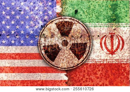 Flags of america and Iran and radiation symbol