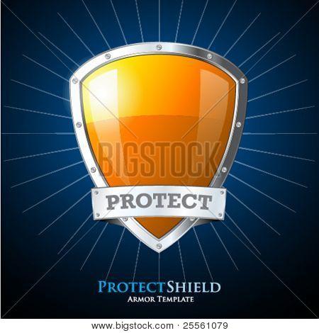 Beschermen van Oranje schild op blauwe achtergrond
