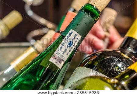 Madrid, Spain - August 27, 2017: Ice Bucket With Seveal Bottles Of Wine Served In A Bar In Madrid, H