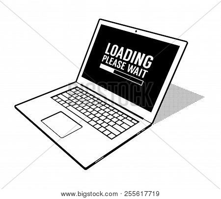 Abstract Laptop Is Loading 3d Vector Illustration
