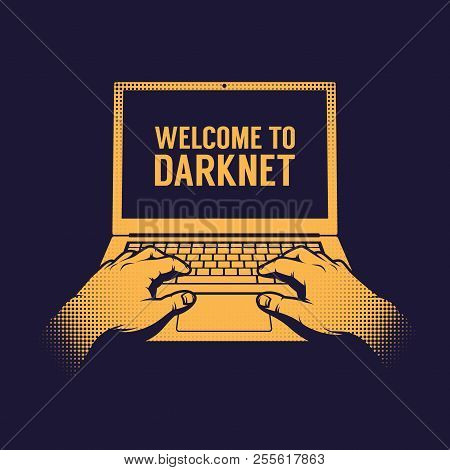 Hands Of A Hacker Entering A Darknet On A Laptop