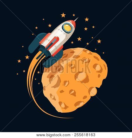 Rocket In Space Orbits  Planet Like The Moon