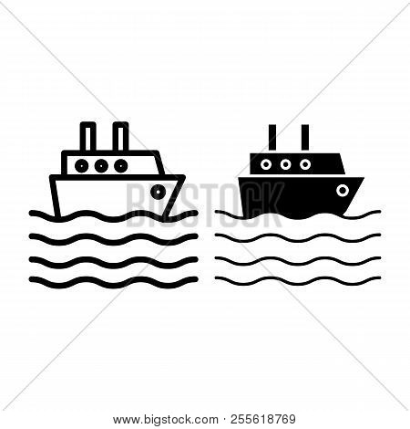 Ship Liner Line And Glyph Icon. Cruise Ship Vector Illustration Isolated On White. Ocean Ship Outlin