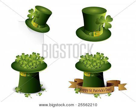 Saint Patrick's Day symbols vector set isolated on white