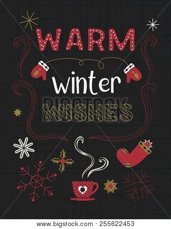 Christmas Holiday Decoration. Colorful Playful Cartoon. Doodle Showflake. Fancy Festive Lettering Wi