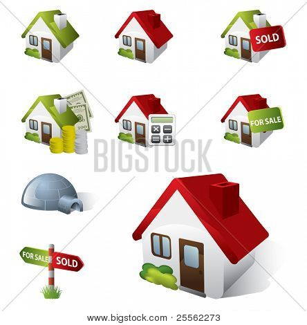 3D Real Estate Business Icon Set