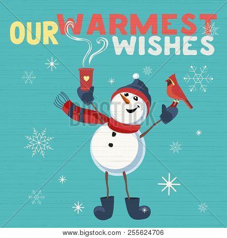Fancy Seasonal Poster. Cartoon Playful Fun Snowman, Red Cardinal Bird. Merry Christmas Winter Season