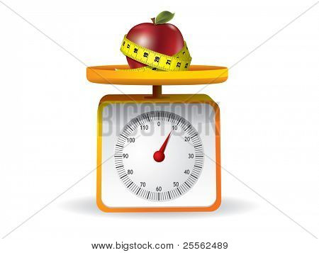 apple on kitchen food scale on white background