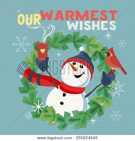 Fancy Seasonal Poster. Cartoon Playful Fun Snowman, Red Cardinal Bird. Merry Christmas Winter Season