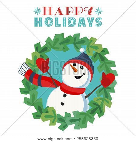 Fancy Seasonal Poster. Cartoon Playful Fun Snowman Snow Ball. Template For Merry Christmas Winter Se