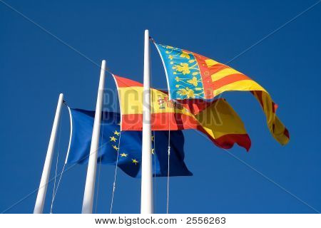 Europe Spain and Valencian flag