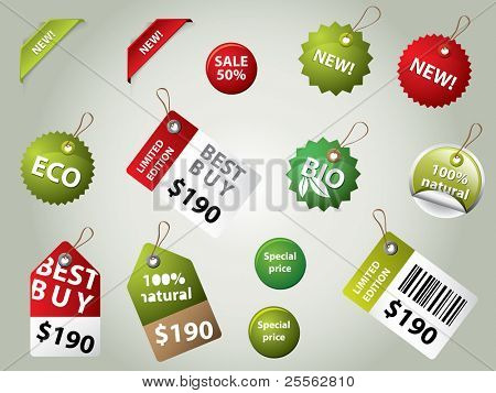 collection of sale labels and badges