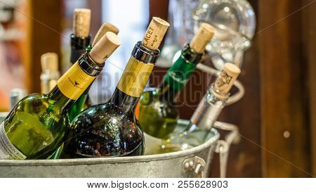 Madrid, Spain - August 27, 2017: Ice Bucket With Several Bottles Of Wine Served In A Bar In Madrid,