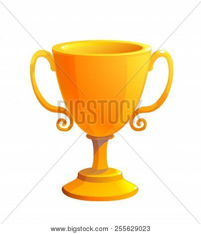 Gold Cup Trophy Award. Prize For The First Place. Shiny Trophy On White Background.