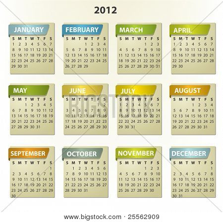 2012 calendar - square frames with tabs