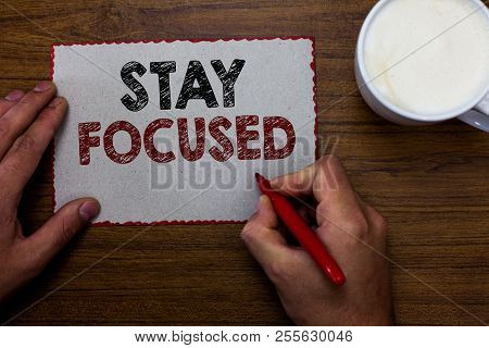 Word writing text Stay Focused. Business concept for Be attentive Concentrate Prioritize the task Avoid distractions Man holding marker communicating ideas piece paper wooden table cup coffee. poster