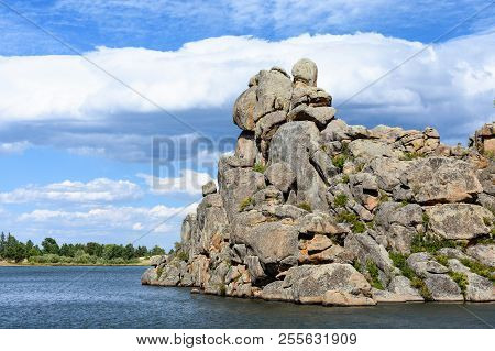 Mountain Lake In Colorado With Dramatic Clouds And Rock Formations. Lake Hiawatha. Red Feather Lakes