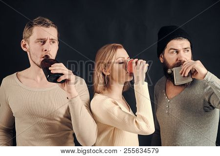 Guys Hold Cup, Flask With Alcohol, Drink. Company Of Calm Friends Spend Leisure With Drinks. Alcohol