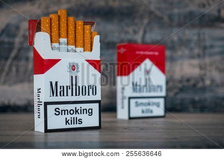 MOSCOW - MAY 08, 2018: Pack of Marlboro Cigarettes, made by Philip Morris. Marlboro is the largest selling brand of cigarettes in the world. Illustrative editorial photo