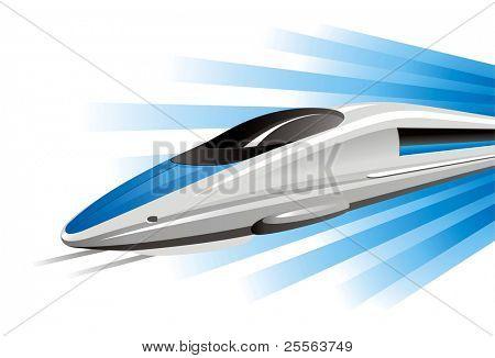 High-speed train on hovercraft. Vector illustration.