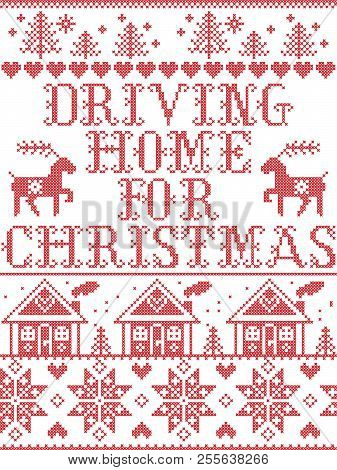 Christmas Pattern Driving Home For Christmas Carol Vector Seamless Pattern Inspired By Nordic Cultur