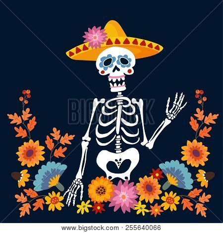 Dia De Los Muertos Greeting Card, Invitation. Mexican Day Of The Dead. Skeleton With Sombrero Hat An