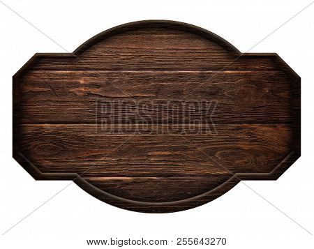 Wooden Sign , Dark Wood Isolated On White Background