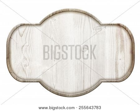 Wooden Sign With Light Wood Isolated On White Background