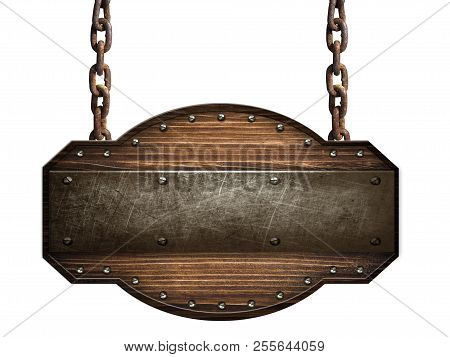 Wooden Sign In A Dark Wood With Iron Strap And Bolts Hanging On Chain Isolated On White Background