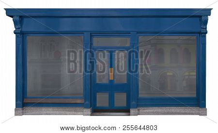 Blue Storefront Disguised With A Decorated Wooden Front. Loading View Isolated On White Background