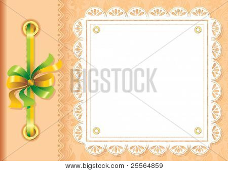 Vector framework for a photo or invitations. A silk bow and lace.
