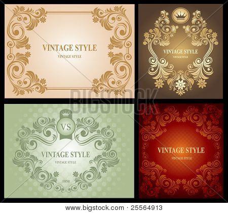 Set of Vintage Floral Frame, rich ornate, vector.
