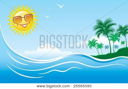 Tropical seascape with palm tree clouds and bright sun