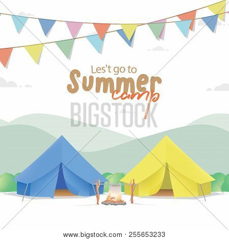 Summer Camp Poster Or Banner With The Yellow & Blue Camp On Mountain Background And Flag Illustratio