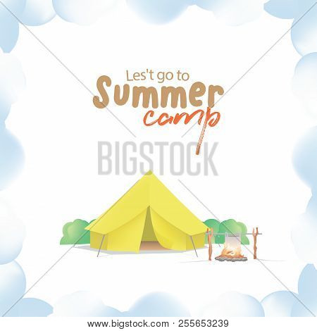 Summer Camp With The Yellow Camp And Campfire On Smoke Frame Illustration Vector. Camping Concept.