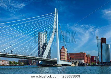 Panorama of Rotterdam cityscape with and Erasmus bridge. Netherlands