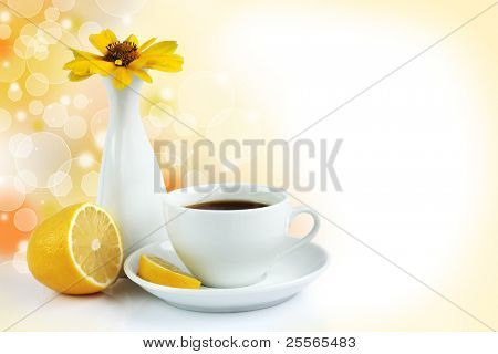 morning cup of tea with lemon, still life on bokeh background