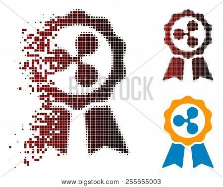 Ripple Premium Ribbons Icon In Dispersed, Pixelated Halftone And Undamaged Entire Variants. Points A