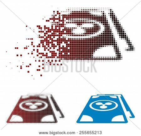 Ripple Banknotes Perspective Icon In Sparkle, Dotted Halftone And Undamaged Entire Versions. Pixels