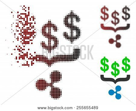 Dollar Ripple Conversion Funnel Icon In Dispersed, Pixelated Halftone And Undamaged Whole Versions.